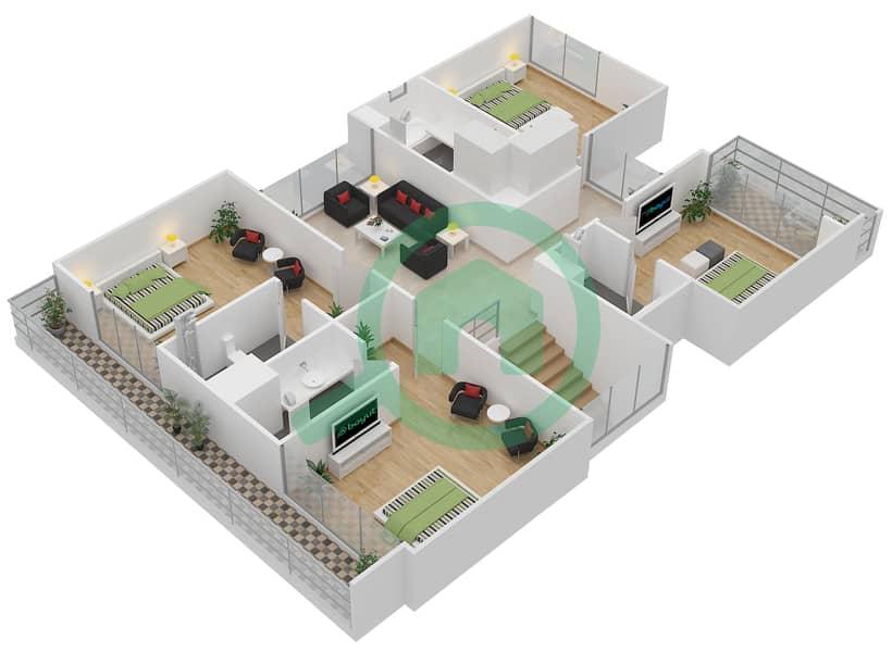 المخططات الطابقية لتصميم النموذج 4 فیلا 5 غرف نوم - روكوود First Floor image3D