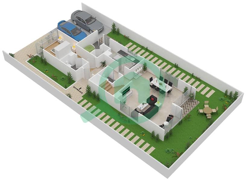 المخططات الطابقية لتصميم النموذج 2P فیلا 6 غرف نوم - روكوود Ground Floor image3D
