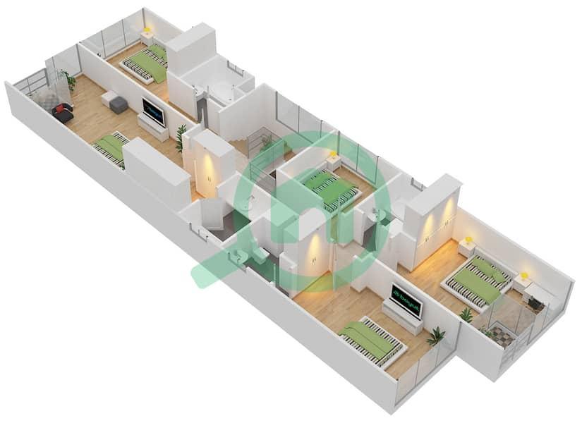 المخططات الطابقية لتصميم النموذج 2P فیلا 6 غرف نوم - روكوود First Floor image3D