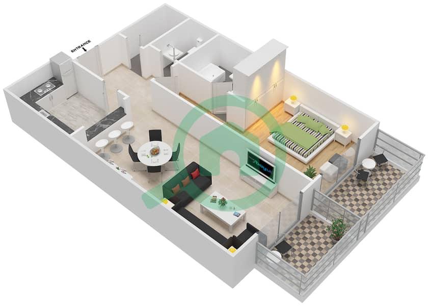 المخططات الطابقية لتصميم النموذج 20 شقة 1 غرفة نوم - بلازو ريزيدنس image3D