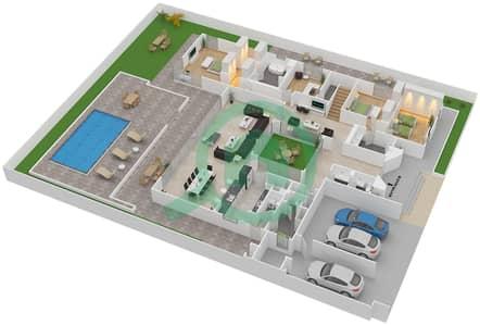 المخططات الطابقية لتصميم النموذج B BUNGALOW فیلا 3 غرف نوم - تلال الغاف