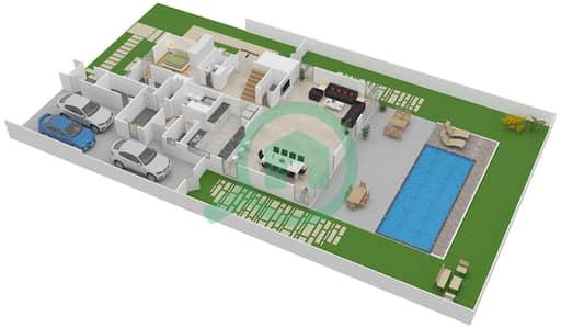 المخططات الطابقية لتصميم النموذج C فیلا 5 غرف نوم - تلال الغاف