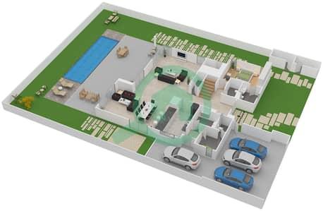 المخططات الطابقية لتصميم النموذج D فیلا 5 غرف نوم - تلال الغاف