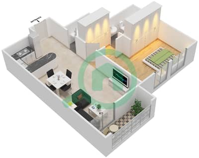 The Imperial Residence A - 1 Bedroom Apartment Unit B 603 Floor plan