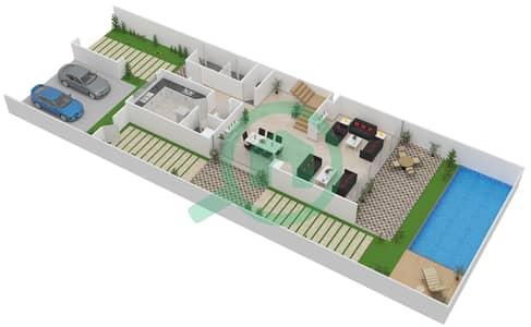 المخططات الطابقية لتصميم النموذج L-A تاون هاوس 4 غرف نوم - روكوود