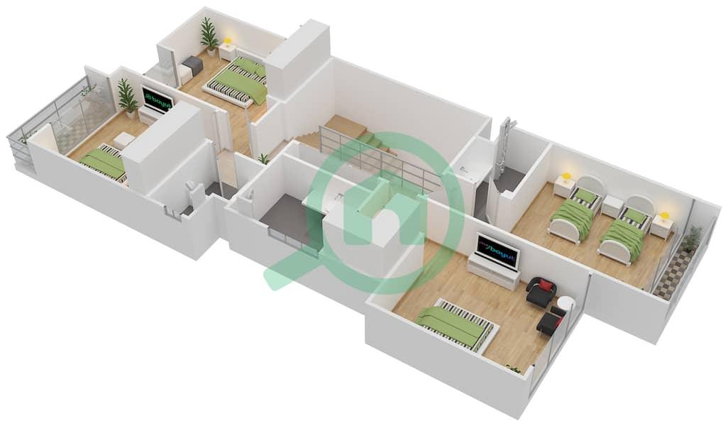 المخططات الطابقية لتصميم النموذج L-A تاون هاوس 4 غرف نوم - روكوود First Floor image3D