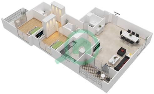 المخططات الطابقية لتصميم النموذج / الوحدة 4B/08 شقة 2 غرفة نوم - عزيزي لياتريس