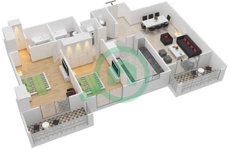 المخططات الطابقية لتصميم النموذج / الوحدة 1B/07 شقة 2 غرفة نوم - عزيزي لياتريس