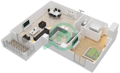 المخططات الطابقية لتصميم النموذج / الوحدة 1B/05 شقة 1 غرفة نوم - عزيزي لياتريس