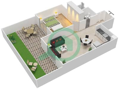 المخططات الطابقية لتصميم النموذج MAISONETTE ST-1B-A تاون هاوس 1 غرفة نوم - الغدیر