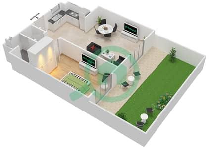المخططات الطابقية لتصميم النموذج MAISONETTE 2B-1B-A تاون هاوس 1 غرفة نوم - الغدیر