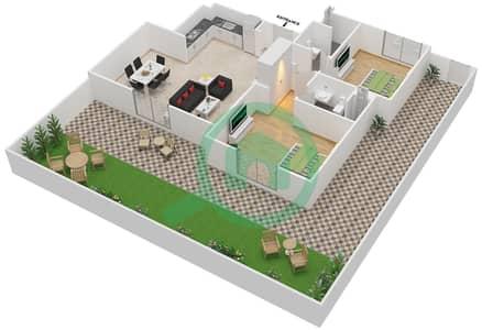 المخططات الطابقية لتصميم النموذج MAISONETTE 2B-A تاون هاوس 2 غرفة نوم - الغدیر