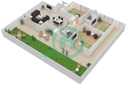 المخططات الطابقية لتصميم النموذج MAISONETTE 3B-A تاون هاوس 3 غرف نوم - الغدیر
