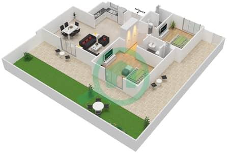 المخططات الطابقية لتصميم النموذج MAISONETTE 2B-1B تاون هاوس 2 غرفة نوم - الغدیر