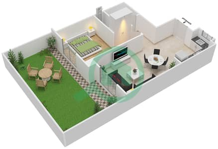 المخططات الطابقية لتصميم النموذج MAISONETTE 1B-1B-A تاون هاوس 1 غرفة نوم - الغدیر