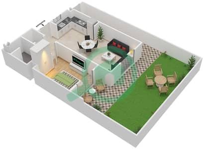 المخططات الطابقية لتصميم النموذج MAISONETTE-1B-1B-B تاون هاوس 1 غرفة نوم - الغدیر