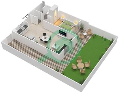 المخططات الطابقية لتصميم النموذج MAISONETTE-ST-1B-C تاون هاوس 1 غرفة نوم - الغدیر