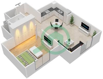 المخططات الطابقية لتصميم النموذج MAISONETTE ST-1B-E تاون هاوس 1 غرفة نوم - الغدیر