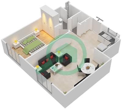 المخططات الطابقية لتصميم النموذج MAISONETTE 2B-1B-B تاون هاوس 1 غرفة نوم - الغدیر