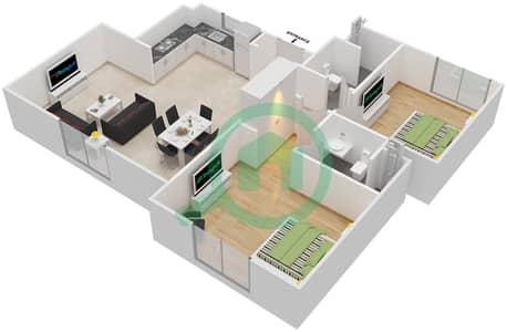 المخططات الطابقية لتصميم النموذج MAISONETTE 2B-B تاون هاوس 2 غرفة نوم - الغدیر