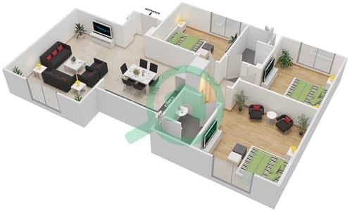 المخططات الطابقية لتصميم النموذج MAISONETTE 3B-B تاون هاوس 3 غرف نوم - الغدیر
