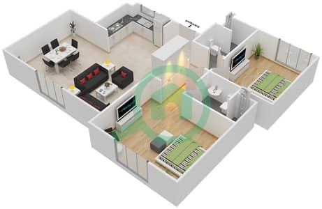 المخططات الطابقية لتصميم النموذج MAISONETTE 2B-1B-C تاون هاوس 2 غرفة نوم - الغدیر