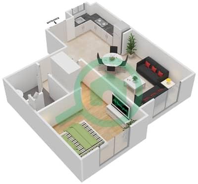 المخططات الطابقية لتصميم النموذج MAISONETTE 1B-1B-C تاون هاوس 1 غرفة نوم - الغدیر