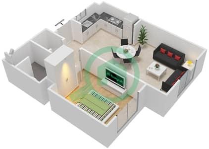 المخططات الطابقية لتصميم النموذج MAISONETTE 1B-1B-D تاون هاوس 1 غرفة نوم - الغدیر