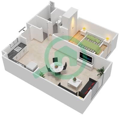 المخططات الطابقية لتصميم النموذج MAISONETTE ST-1B-G تاون هاوس 1 غرفة نوم - الغدیر