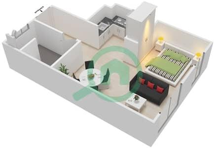 Al Ghadeer - Studio Townhouse Type MAISONETTE ST-1B-H Floor plan