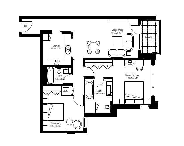 10 Two Bedroom | Mid Floor | BLVD Views