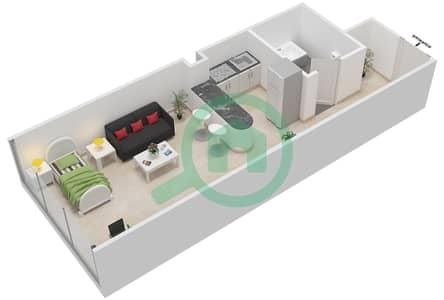 Al Jawhara Residences - Studio Apartment Type 11 Floor plan
