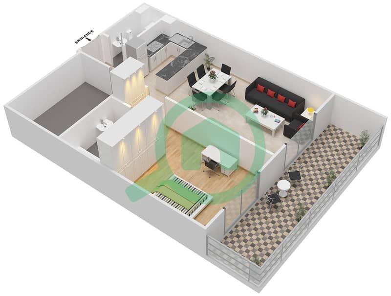 المخططات الطابقية لتصميم النموذج A6 شقة 1 غرفة نوم - الكوف Floor 2,3 3D