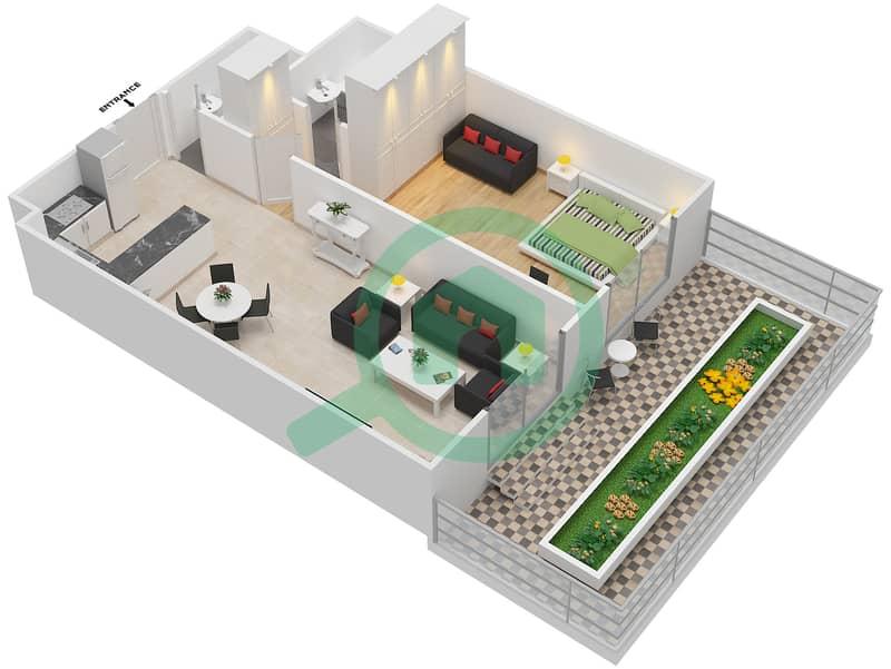 ALCOVE - 1 Bedroom Apartment Type A1 GROUND FLOOR Floor plan Ground Floor 3D