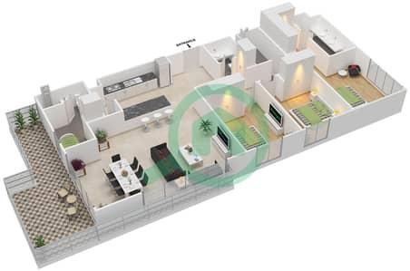 المخططات الطابقية لتصميم النموذج C - 7 شقة 3 غرف نوم - بارك بوينت