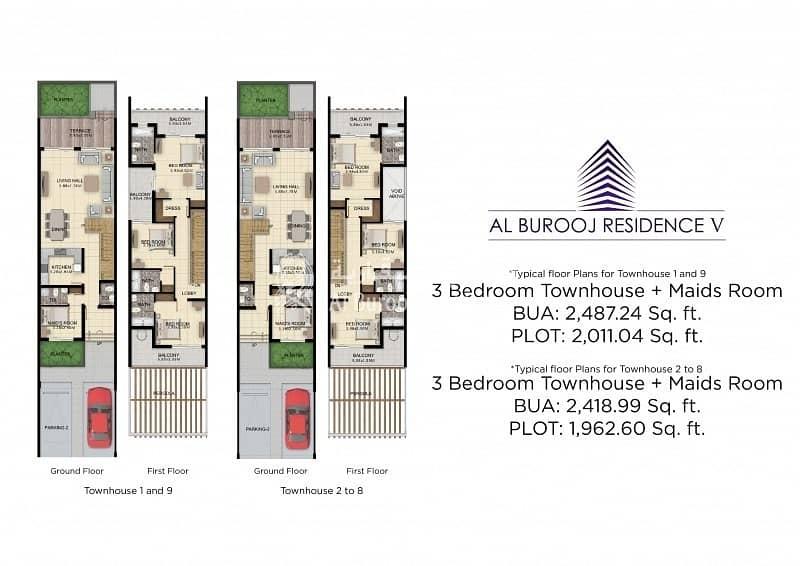 9 Luxury Townhouse in Al Burooj Residence V at Al Furjan