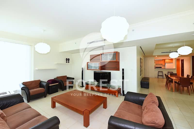 2 Mid Floor | Fully Furnished |Partial Marina | 3BR