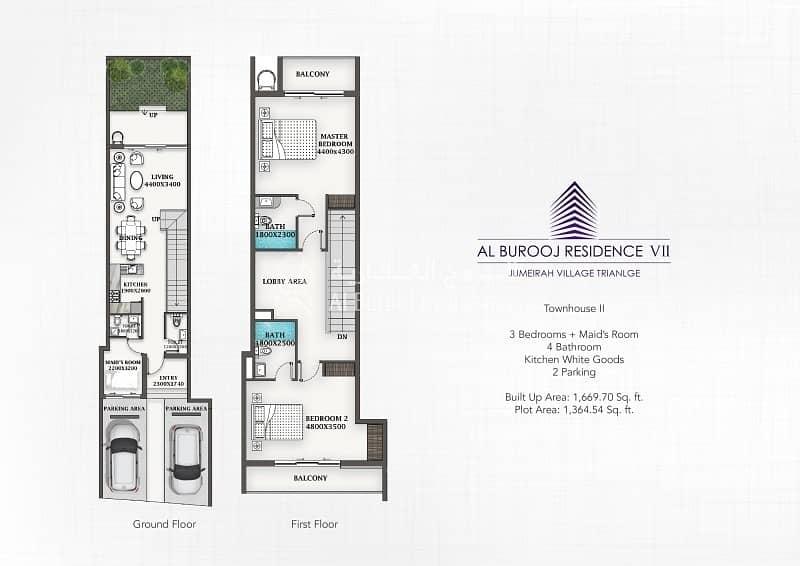 13 2 Bedroom Townhouse in Al Burooj Residence VII at JVT