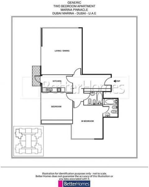 14 Bright apartment with balcony in Marina Pinnacle