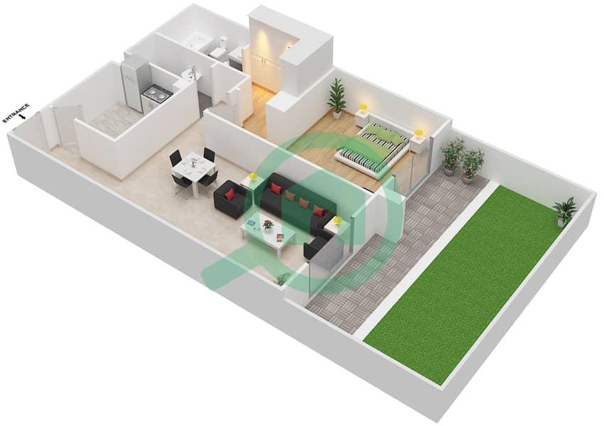 المخططات الطابقية لتصميم النموذج LAVISH شقة 1 غرفة نوم - ليفينغ ليجيندز image3D
