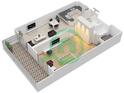المخططات الطابقية لتصميم النموذج REGULAR شقة 1 غرفة نوم - ليفينغ ليجيندز