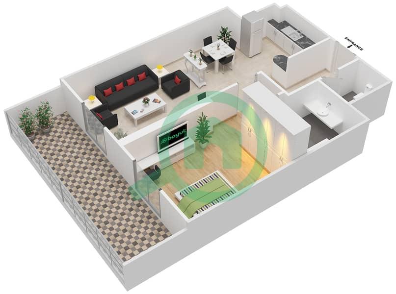 المخططات الطابقية لتصميم النموذج STANDARD شقة 1 غرفة نوم - ليفينغ ليجيندز image3D