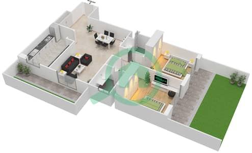 المخططات الطابقية لتصميم النموذج GRANDE شقة 2 غرفة نوم - ليفينغ ليجيندز