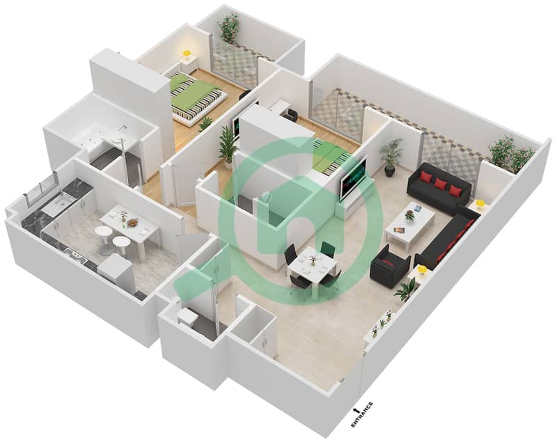 Living Legends - 2 Bedroom Apartment Type STERLING Floor plan image3D