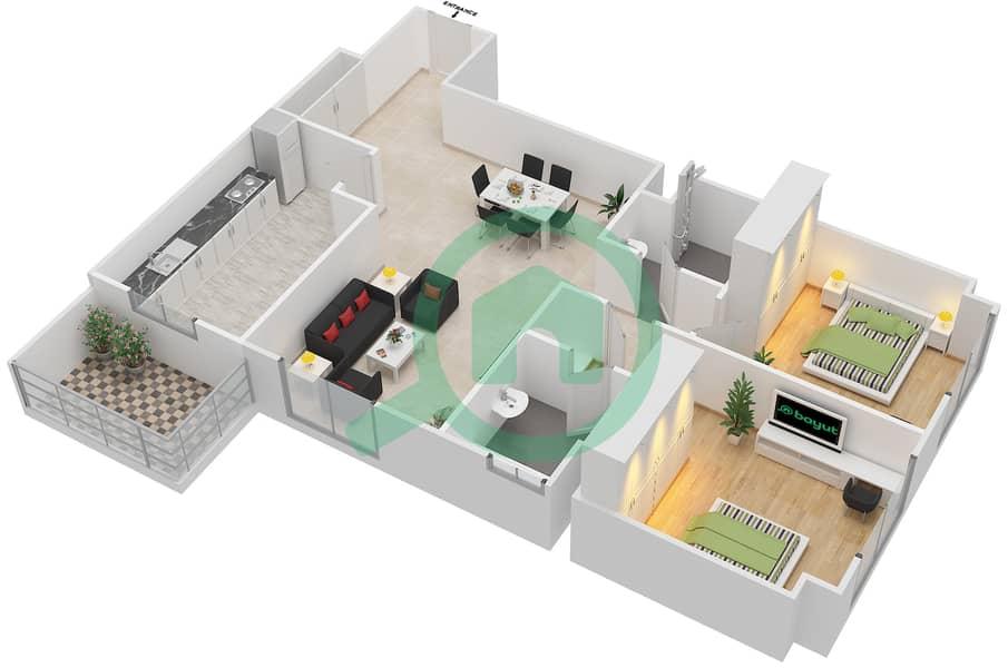 Living Legends - 2 Bedroom Apartment Type ELEGANT Floor plan image3D