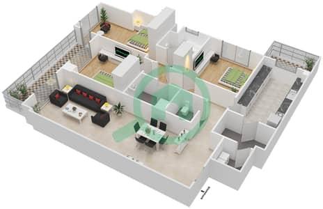 المخططات الطابقية لتصميم النموذج LUX شقة 3 غرف نوم - ليفينغ ليجيندز