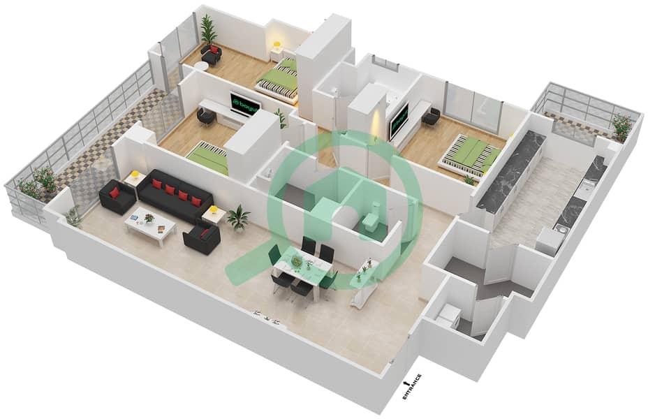 المخططات الطابقية لتصميم النموذج LUX شقة 3 غرف نوم - ليفينغ ليجيندز image3D