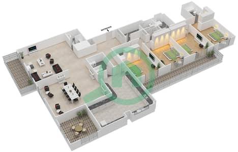 المخططات الطابقية لتصميم النموذج GEM بنتهاوس 4 غرف نوم - ليفينغ ليجيندز
