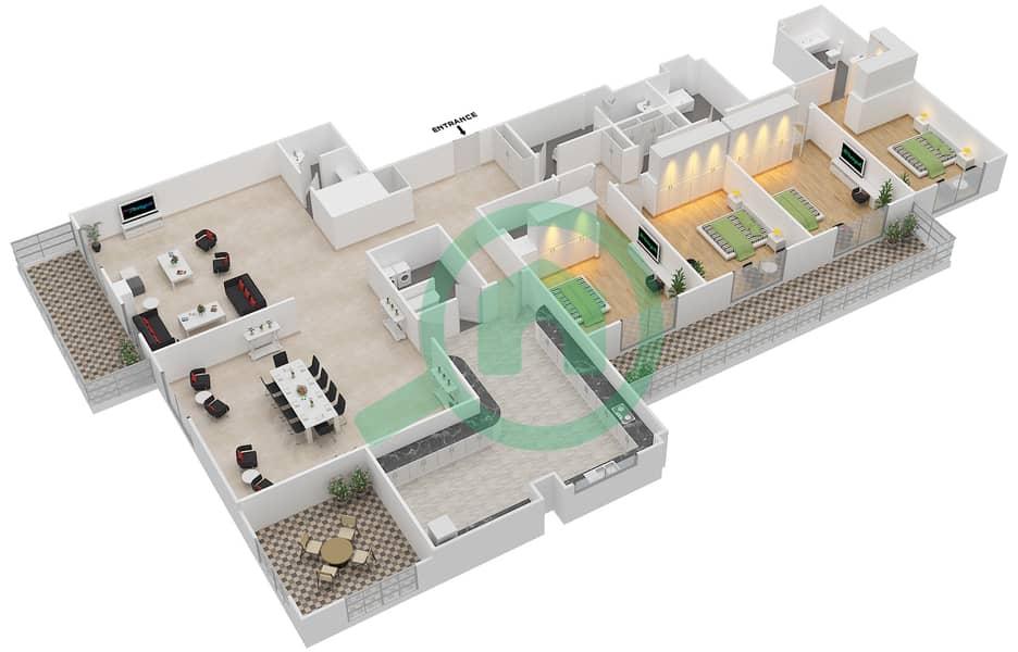 المخططات الطابقية لتصميم النموذج GEM بنتهاوس 4 غرف نوم - ليفينغ ليجيندز image3D