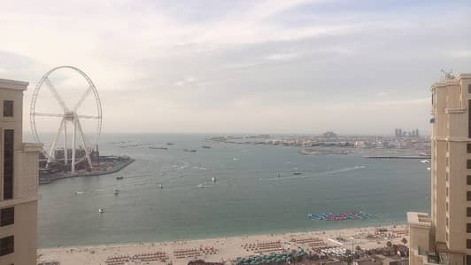 2 Bedroom Flat for Rent in Jumeirah Beach Residence (JBR), Dubai - Jbr, 2 b/r with full sea view , 4 cheques , high floor , living room , balcony